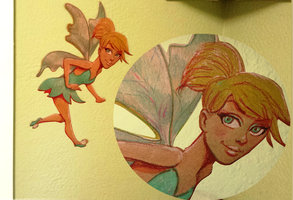 Tinkerbell Crayons on Brown Shipping Paper 8 x 11 by ZachSatherArt