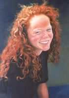 Red Cascade -Susie PAINTING by AstridBruning