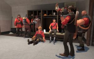 Team warming up by TF2Art