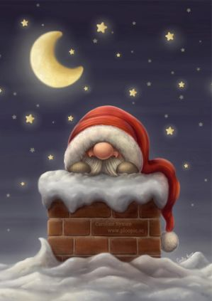 Little Santa in a Chimney by Ploopie
