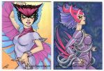 Deathbird Sketch Cards by JPepArt
