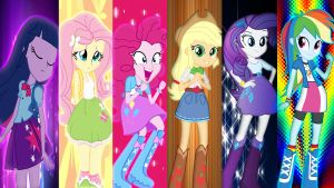 Equestria Girls Mane 6 Wallpaper by Macgrubor