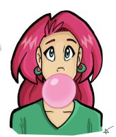 Candi Blows Bubble by starlinehodge