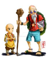 Kuririn and Kame Sennin Redesign by WhysoGurin
