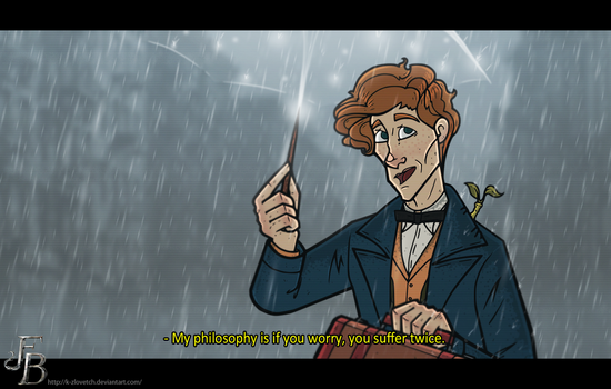 Newt Scamander under the rain by K-Zlovetch