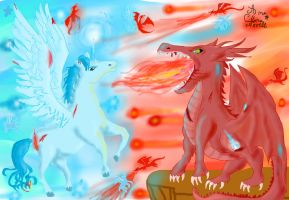 War of dragons and unicorns by ChibiWendy