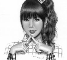 Orange Caramel 'Lipstick' Raina graphite drawing by monda123