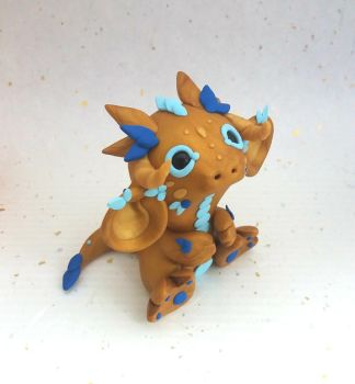 Gold and Blue Dragon by Critterkins