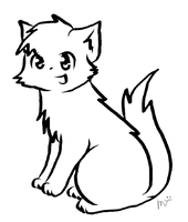 Warrior cat lineart by CeruleanOasis