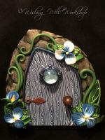 Polymer Clay Fairy Door-Blue by missfinearts