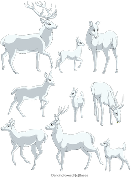 Red Deer linearts- 9 pack by DancingfoxesLF
