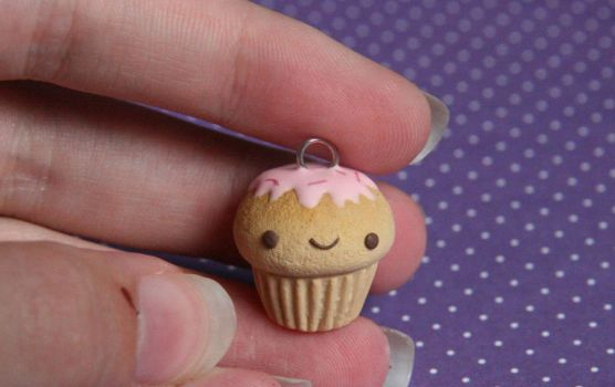 Happy Cupcake Clay Charm for Sale! by xoxRufus
