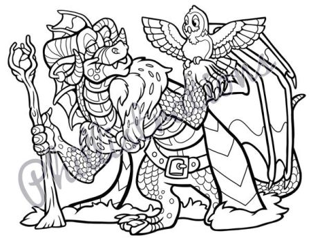 Wizard Dragon Coloring Page by Phillistrations