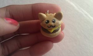 Polymer Clay Kitty Cheese Burger by ThingSoSweet