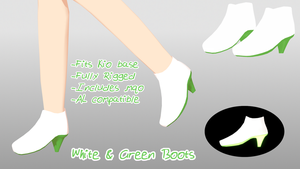 [MMD DL] White and Green Boots by Fabulous-Goitsu