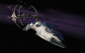 U.S.S. Nightwing Departs Deep Space Nine by tj-hawk