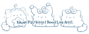 P2U Fluffy Kitty and Bunny Lineart by Sarilain