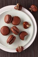 Chocolate chestnuts macarons by kupenska