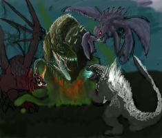 Godzilla Fight Process 3 by franeres
