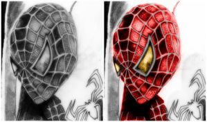 spiderman WIP (with and without colour) by deathlouis