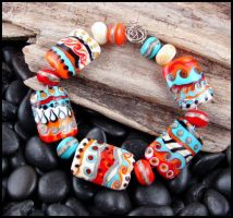Dancing Moccasin - Lampwork Glass Bead Set by andromeda