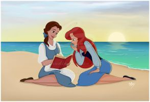 Belle and Ariel: Commission by madmoiselleclau