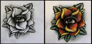 Rose with eye tattoo design by thirteen7s