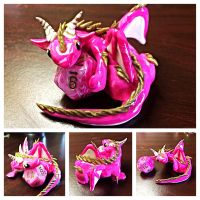 Marbled Pink Dice Dragon by LittleCLUUs