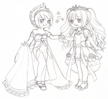 Gaia Avi - Valerie and Desiree  (Rough sketch) by Mira-Lamai