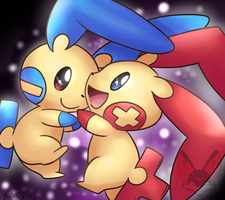 Plusle And Minun by FENNEKlNS