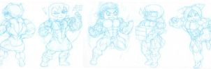 Ridiculously massive muscle chibis 2 by astaroth90