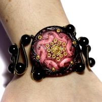 Cranberry Spiral Bracelet by CatherinetteRings