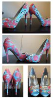 Shoes: Coral and Blue Paisley by setsuna22