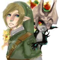 Link and Midna by Wasil