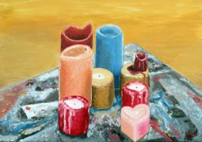 Candles on a Painting Table by German-Blood