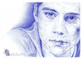 Dylan O'brien. Blue biro. by artisticartery