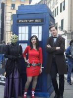 Me as Oswin Oswald, Doctor, Tardis and Vastra by Azumina