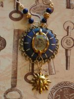 Blue Sun Steampunk Necklace by cjgrand