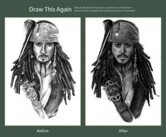 Draw this again challenge: Jack Sparrow WiP by Red-Szajn