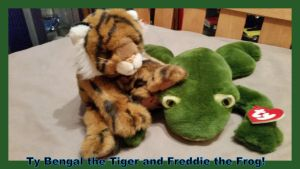 Ty 1997 Bengal the Tiger and 1991 Freddie the Frog by Vesperwolfy87