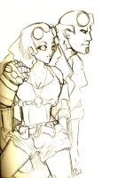 Hellboy and Hellgirl SK by bastett