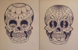 Sugar skulls - good vs. evil by londongirlx