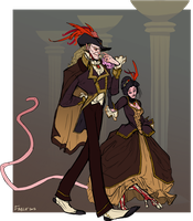 The Cat and Lamia go to the OC Ball by FablePaint