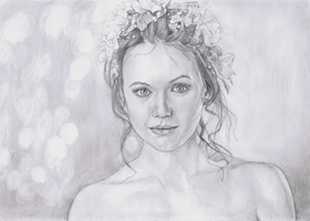 Flowers in her hair - Draw Along August by Richard-M-Williams