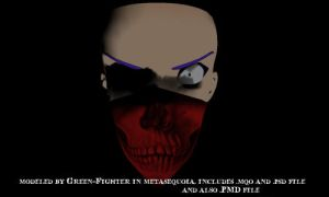 MMD red skull head scarf+DL by Sefina-NZ