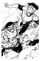 Hulk vs Invincible by johnraygun