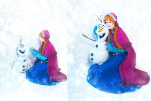 Happy Olaf and Anna - Frozen (Disney) by Elanor-Elwyn