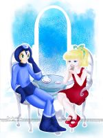 Mega Man and Roll Time for Tea by EmmersDrawberry