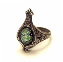 Glass Opal Stone Ring by SteamDesigns