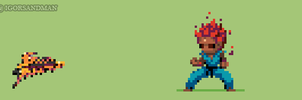 357/365 pixel art: Young Akuma from Street Fighter by igorsandman